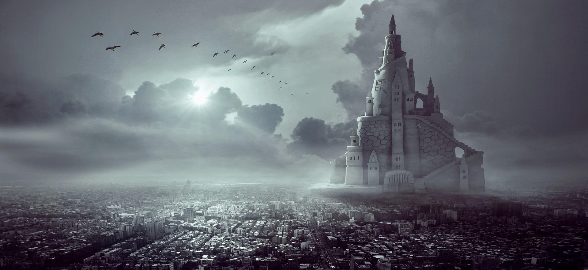 Muraptaam, die Stat am Fluss, mut ihren Turmhäusern und Häusertürmen.